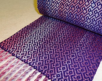 Handwoven Bamboo Scarf - Purple Pink Lavendar Woven Scarf - Wall of Troy
