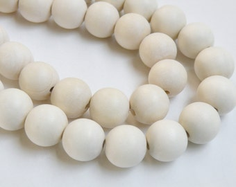 White wood beads round 20mm full strand eco-friendly Cheesewood 1294NB