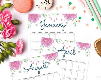 "2018 Floral Printable Calendar, watercolor, Editable Calendar, Letter Size 8.5"" x 11"", Instant Download, 2018 calendar printable editable"