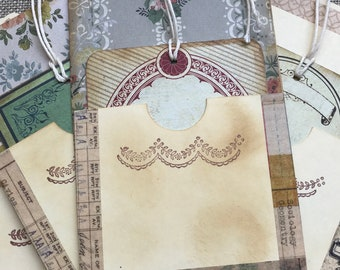 Handmade Library Card Pocket/Tag/Junk Journal/Scrapbook