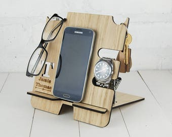 Personalised Docking Station - Multi item storage - Electronic Stand - Wooden Mobile Phone Stand - Initial & full name personalisation FREE