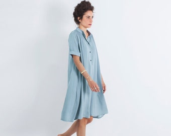 Oversized Dress, Loose Dress, Light Blue Dress, Bohemian Loose Dress, Oversized Clothing, Midi Dress, Summer Dress, Loose Dress Women, Boho