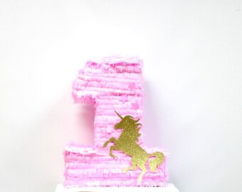 Pink and Gold Number One Pinata - Unicorn Number 1 Pinata