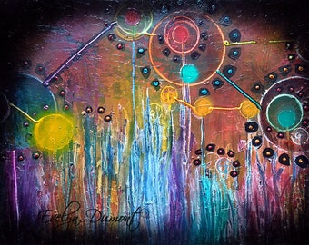 "Canvas ""Auralux"" - multicolor abstract - Contemporary Art"