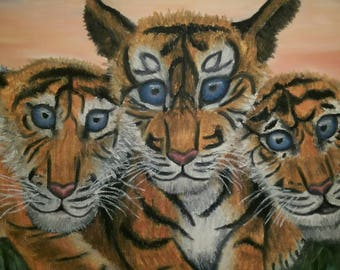 """14""""x17"""" Original painting of a three tigers with sunset in the background not a print signed and dated"""