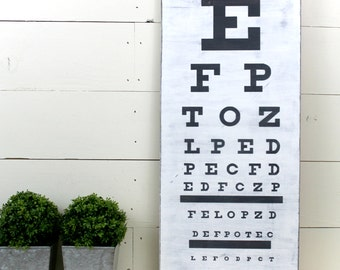 Eye Chart Sign Wood Sign Wall Decor Optometrists Decor