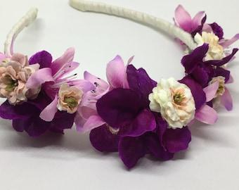 Purple & Fuchsia floral headband