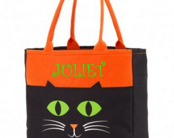 Black Cat Halloween Tote Halloween Candy Tote