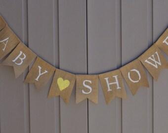 Yellow Baby Shower, Baby Shower Banner, Baby Shower Decor, Baby Shower Bunting, Baby Shower Garland, Rustic Baby Decor, Burlap Bunting