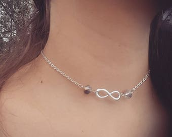 Silver infinify choker necklace adjustable