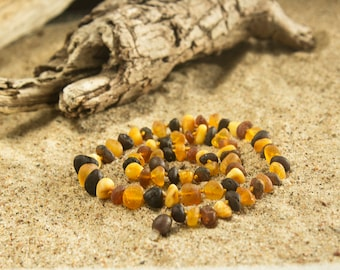 Raw amber necklace with mixed colors Baltic amber jewelry