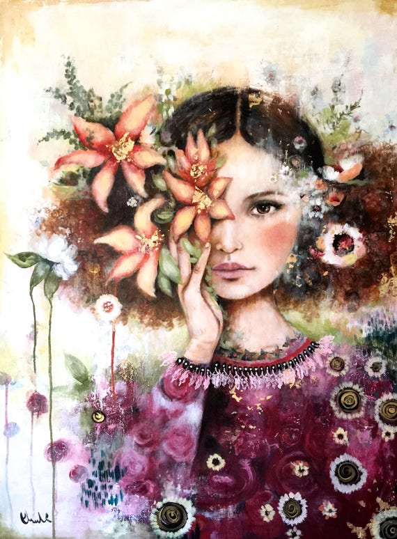 girl with with orange lilies
