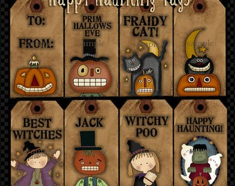 Happy Halloween Haunting Tags - Digital Clipart for Scrapbook & Paper Crafts
