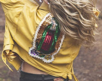Vintage Embellished Yellow Leather Jacket