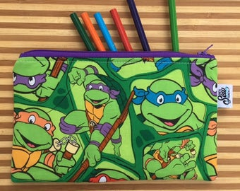 Ninja Turtle Pencil Pouch, Ninja Turtle Zipper Pouch, Ninja Turtle Gift, Teenage Mutant Ninja Turtles, Ninja Turtle Gift