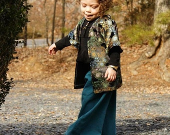 Teal Linen Look Wide Leg Pants Girls Pants Elastic Waist Handmade Pants