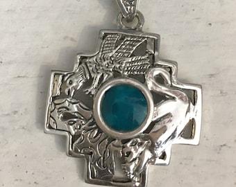 Silver Chakana Pendant - Chakana with stone - Condor - Puma - Snake - Silver Jewelry - Inca Cross - Inca Symbol - Inca Jewelry - Shaman