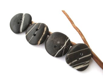 Buttons Stone Mediterranean Beach Rock Pebble Knitting Sewing Buttons Craft Findings Large STRIPED BUTTONS 34-35 mm