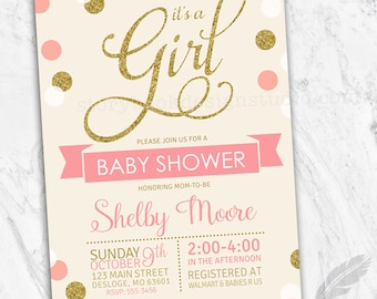Gold and Pink It's A Girl Baby Shower Invitations , gold, glitter, ivory, cream, polka dots, digital file, printable