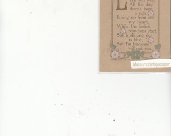"""Volland Antique Postcard  With Verse """"Lonesome"""" Flowers And Gold"""
