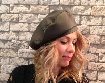 Green Leather Woman Beret Fashion Hat Size 56,57 ,58 ,59 .