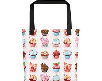 "15""x15"" Cupcakes Treats Totebag, Food Cupcake Tote Bag, Durable Large Print Bag, Cloth Bag, Polyester Illustrated Reusable Bag, Grocery Tote"