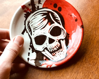 Skull with Splatter - Red, White & Black - Small Plate or Trinket Dish