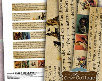 Digital, Printable, Alice in Wonderland, Digital Strips, Collage Sheet, Images for Bracelets, Images for Cuffs, Junk Journal Tags, Bookmarks