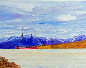 Sailboat in the northern fjord. Landscape. Sea. The mountains. sky. Oil painting on canvas. Original picture