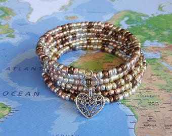 Multi Metallic Seed Beads on Memory Wire Bracelet- Wrap Bracelet- Coil Bracelet- Beaded Bracelet- Jewelry