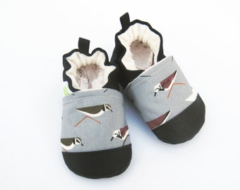 Organic Vegan Sand Pipers in Grey / non-slip soft sole baby shoes / made to order / Babies Toddlers Preschool