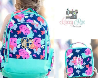 Girls Amelia Personalized Backpack, Lunchbox, and pencil pouch, preschool backpack, Monogrammed, School Age Backpack, flowers, floral