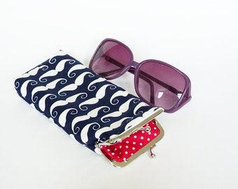 Glasses case, moustache fabric, navy blue and white cotton moustache design, cotton case