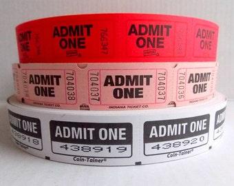 Admit One Raffle Tickets / 20 Tickets / Pink / Red / White / Carnival Tickets / Journal Supply / Scrapbook Ephemera