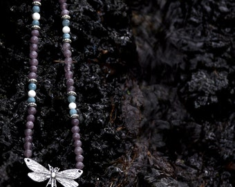 Dragonfly Necklace - Purple & Blue Jasper Gemstones and Mother of Pearl Shell - Insect Jewelry, Dragonfly Pendant