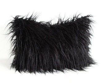 Black Faux Fur 12 x 18 Lumbar Pillow Cover Curly Mongolian Lamb Zipper
