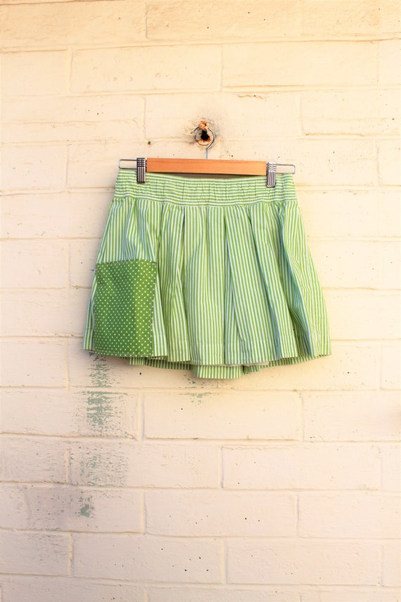 S/M Apple Green Striped upcycled skirt/cotton skirt/Skirt/mini skirt/farmhouse chic/lucysroom/Upcycled Clothing/Upcycled Clothing/Fairy