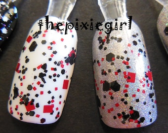 BLACK WIDOW Black Red Glitter Handmade Indie Top Coat Nail Polish Lacquer in Suspension Base 15mL