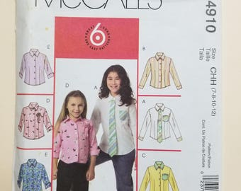McCall's Child's Pattern Size 7-12  #M4910