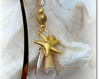 Gold Seashell Beach Wedding Guest Book Marker