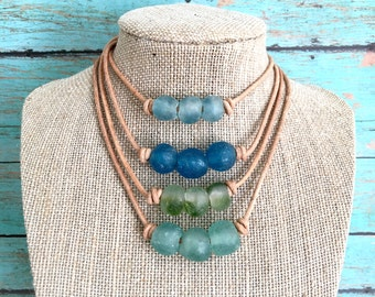 Sea Glass Choker Necklace | Choker Necklace | Sea Glass Necklace | Natural Leather Cord Choker | Leather Cord Necklace | Sea Glass Beads