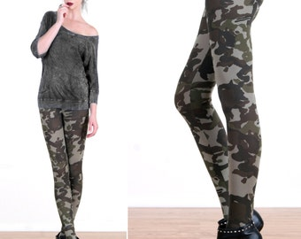 Grunge Camo Printed Leggings