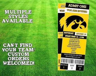 Iowa Hawkeyes Ticket Invitation