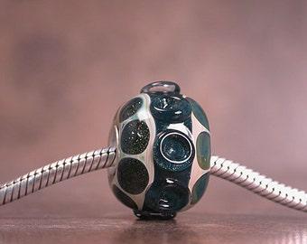 Lampwork Glass Big Hole Bracelet Bead, Euro Charm Bead, Sterling Silver Core, Boro Glass, Divine Spark Designs, SRA