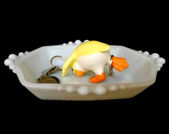 Upcycled/Hand-crafted/Vintage Duck Ringholder/Trinket Dish/Ring Dish- Free Shipping