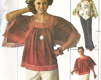 Simplicity 7569 Misses Angel Sleeved Top And Handkerchief Hem Top Sewing Pattern, Size 12-14, UNCUT