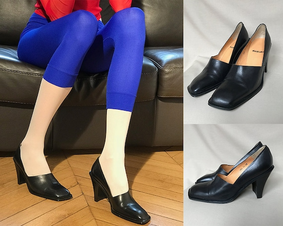 Heel To Toe Poole >> Vintage Square Toe Heels Square Toe Shoes 90s Pumps 90s