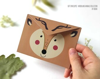 Set of 10 Gift envelopes Woodland Deer / Cute envelopes / Envelopes for gifting / Envelopes for greetings cards / Funny envelopes / Woodland