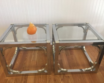 CHROME and FRETWORK END Tables, Asian Design, Modern Asian Style, 1980's, Mid Century at Modern Logic