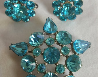 Vintage Broach and Earring Set Beuatifull Blue
